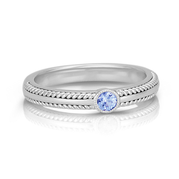 Round Ice Blue Sapphire Sterling Silver Stackable Ring At
