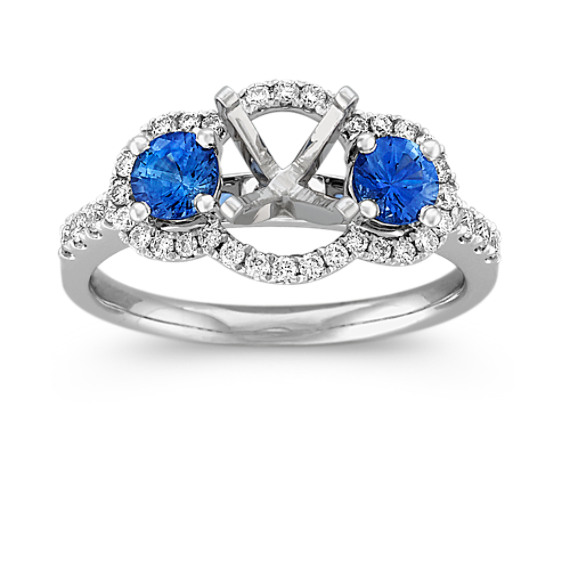 Round Kentucky Blue Sapphire and Diamond Engagement Ring