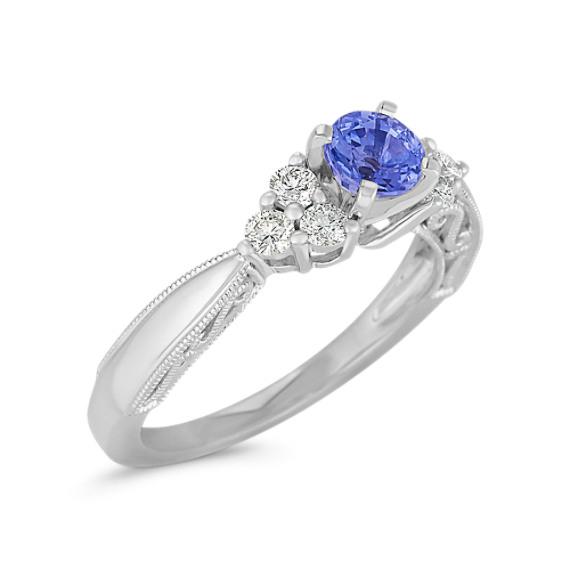 Round Kentucky Blue Sapphire and Diamond Ring