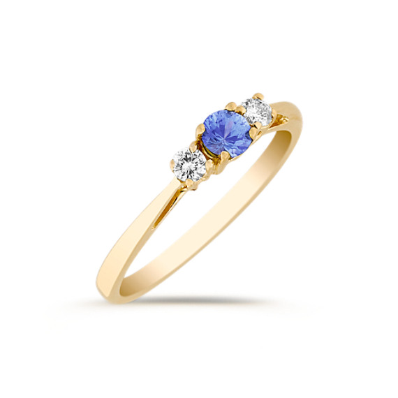 Round Kentucky Blue Sapphire and Diamond Three-Stone Ring