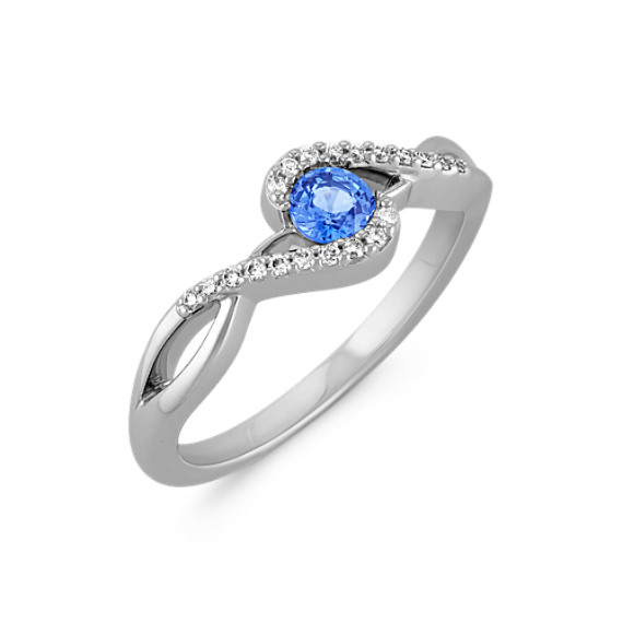 Round Kentucky Blue Sapphire Swirl Ring in Sterling Silver