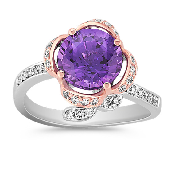 Round Lavender Sapphire and Diamond Ring in Two-Tone Gold