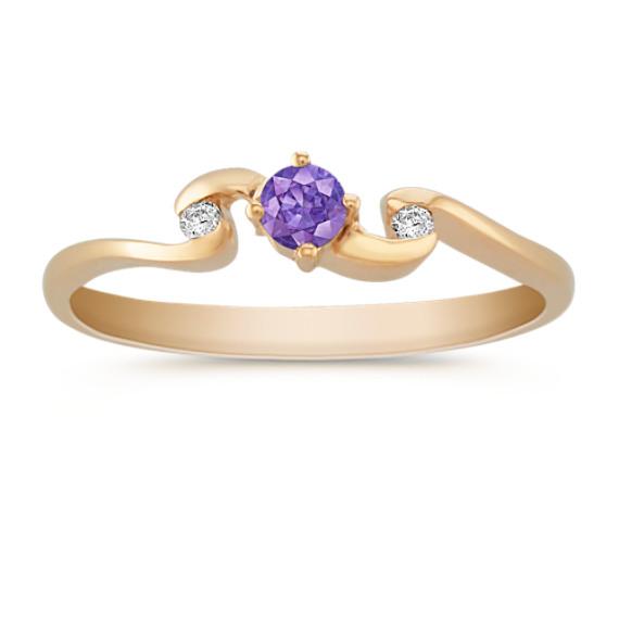 Round Lavender Sapphire and Diamond Ring