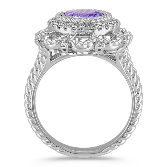 Round Lavender Sapphire and Diamond Ring