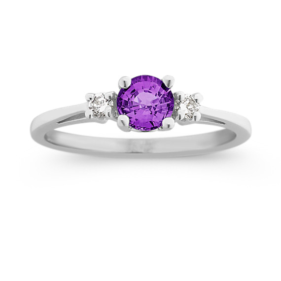 Round Lavender Sapphire and Diamond Three-Stone Ring