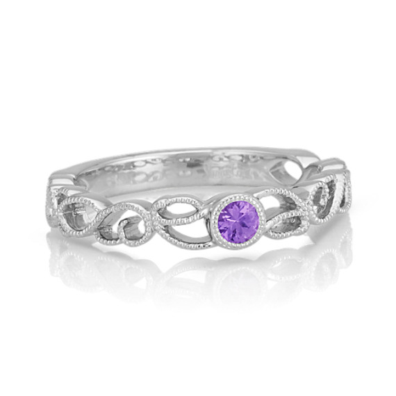Round Lavender Sapphire and Sterling Silver Stackable Ring