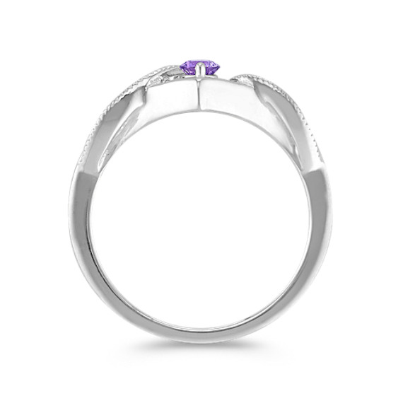 Round Lavender Sapphire Ring in Sterling Silver