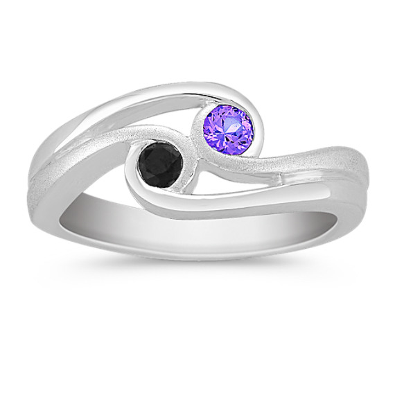 Round Multi-Colored Sapphire Ring in Sterling Silver