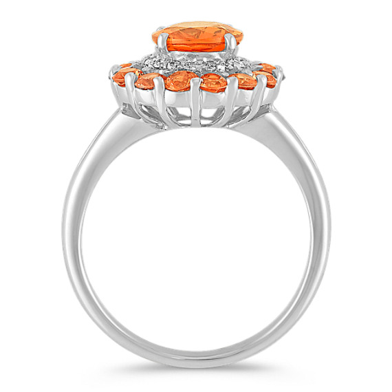 Round Orange Sapphire and Diamond Ring