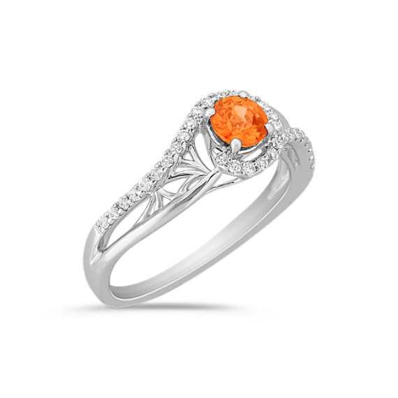 Round Orange Sapphire and Diamond Swirl Ring