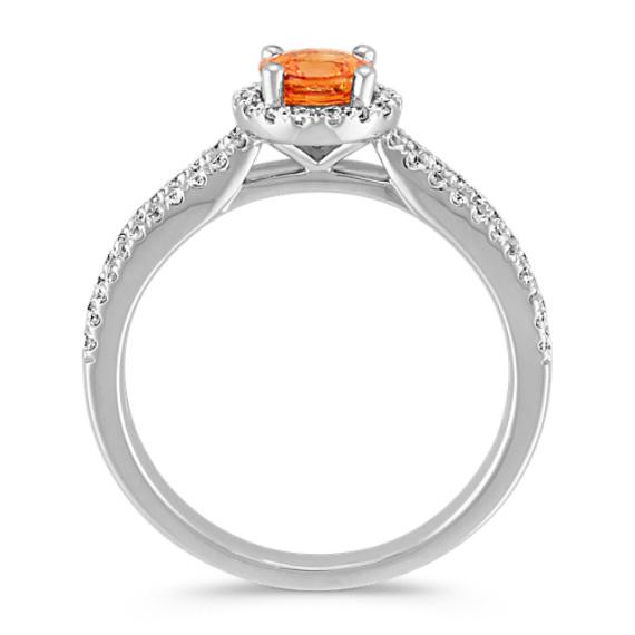 Round Orange Sapphire and Round Diamond Split Shank Ring