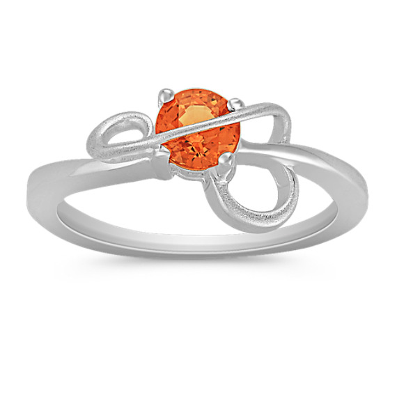Round Orange Sapphire Ring in Sterling Silver