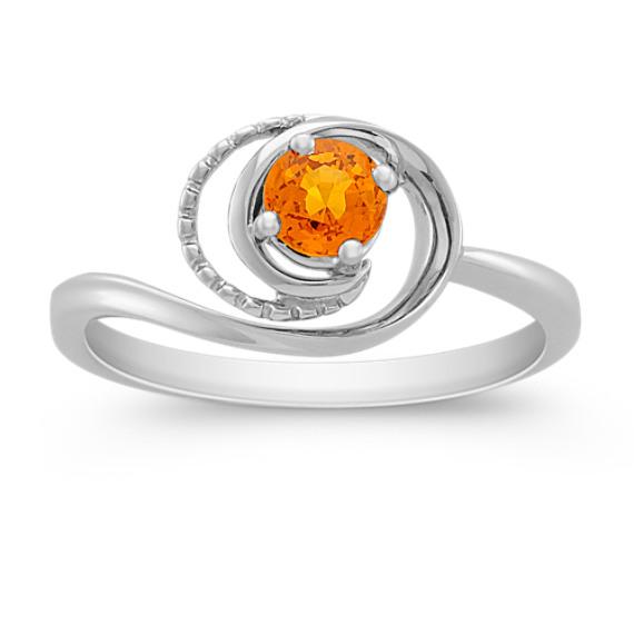 Round Orange Sapphire Ring