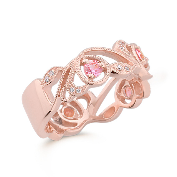 Round Pink Sapphire and Diamond Ring in Rose Gold