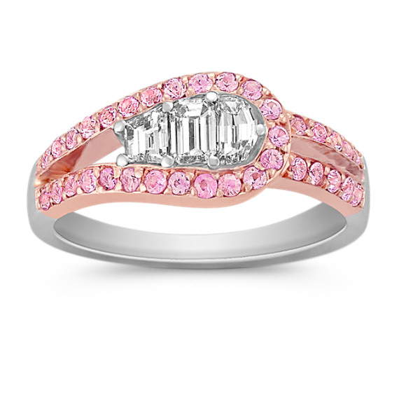 Round Pink Sapphire and Fancy Shaped Diamond Ring in Two-Tone Gold