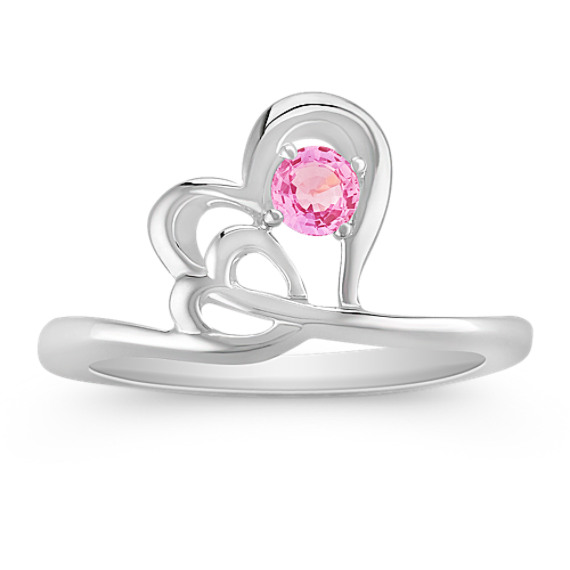 Round Pink Sapphire Heart Ring in Sterling Silver