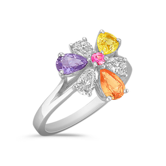 Round Pink Sapphire, Multi-Colored Pear-Shaped Sapphire and Diamond Ring