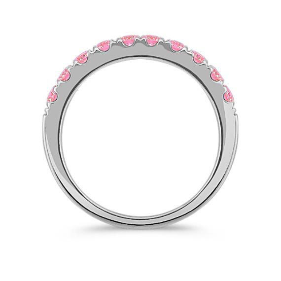 Round Pink Sapphire Wedding Band