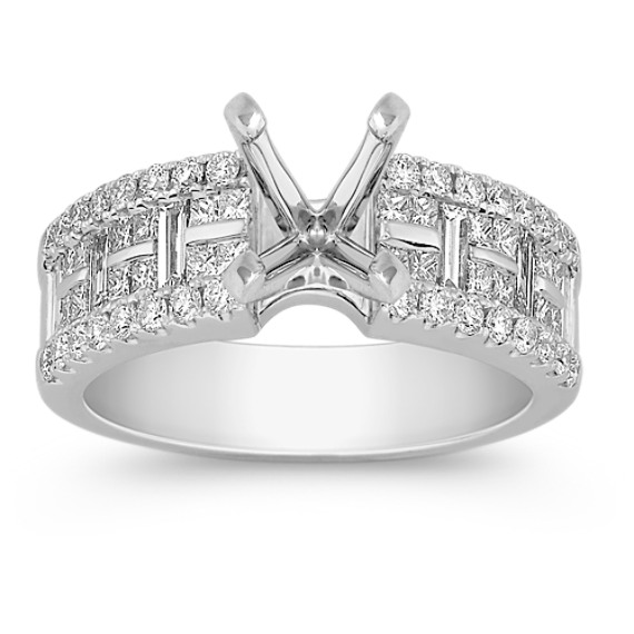 Round, Princess Cut, and Baguette Diamond Engagement Ring