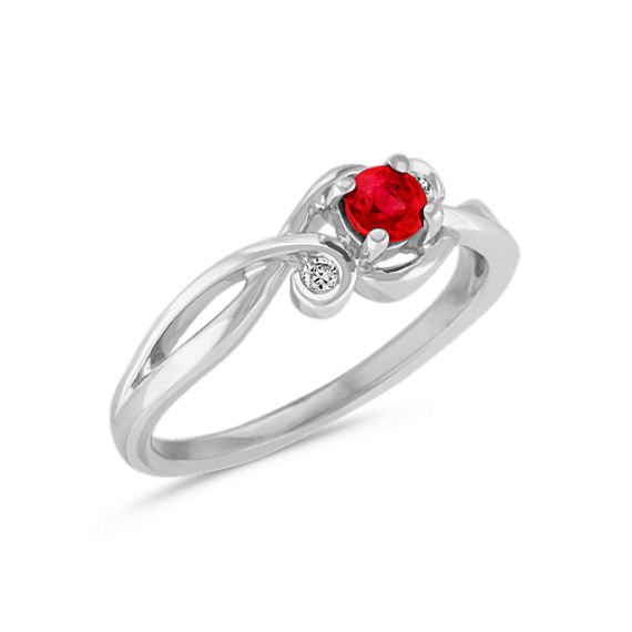 Round Ruby and Bezel Set Diamond Ring in Sterling Silver