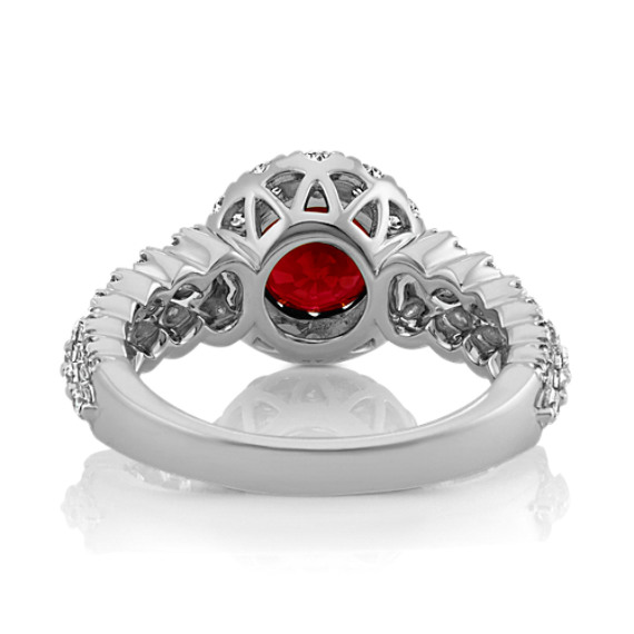Round Ruby and Diamond Halo Ring