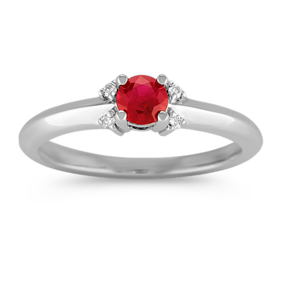 Round Ruby and Diamond Ring in Sterling Silver
