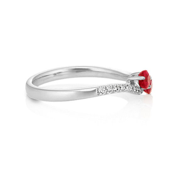 Round Ruby and Diamond Two-Stone Ring in 14k White Gold