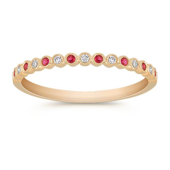 Round Ruby and Diamond Wedding Band