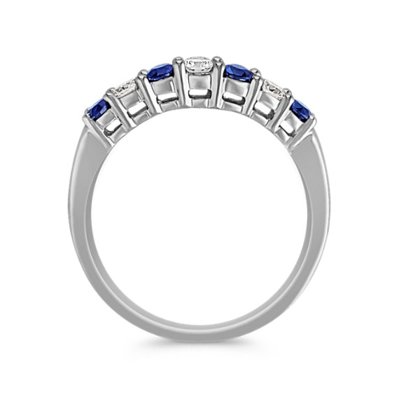 Round Sapphire and Diamond Contour Wedding Band