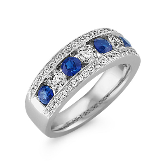 Round Sapphire and Diamond Fashion Ring with Milgrain Detailing