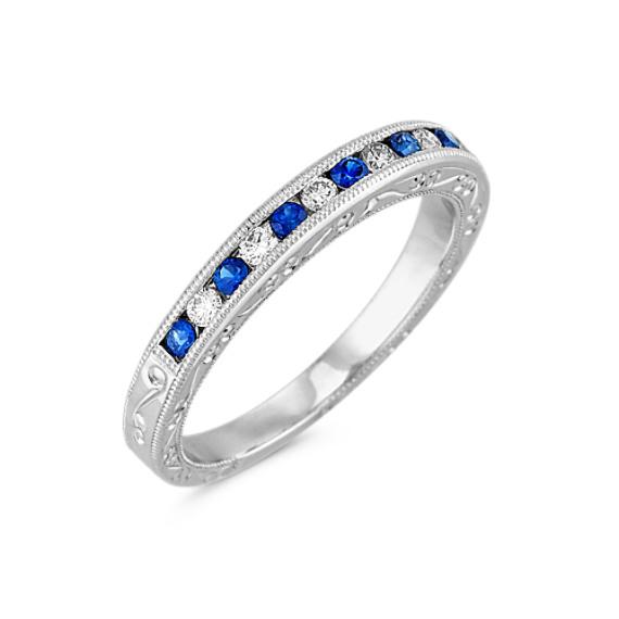 Round Sapphire and Diamond Platinum Wedding Band