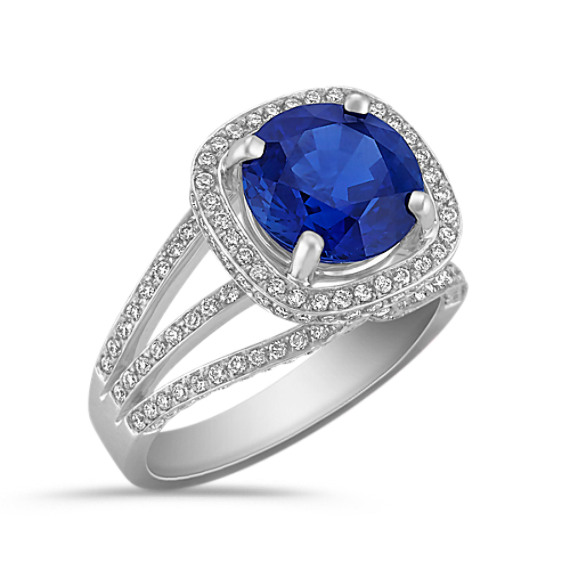 Round Sapphire and Diamond Ring in 18k White Gold