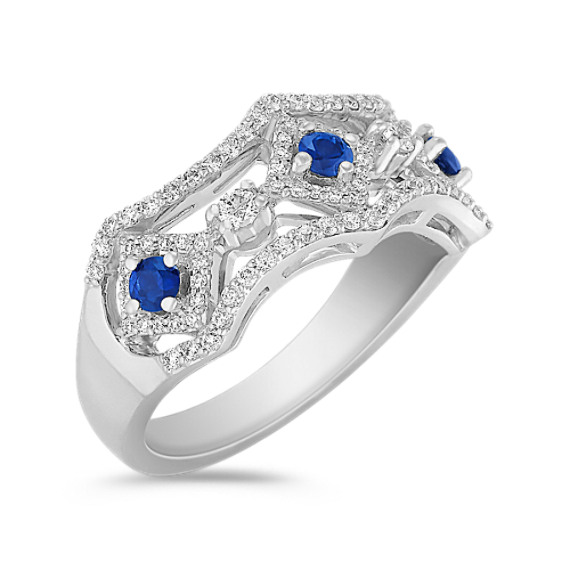 Round Sapphire and Diamond Ring