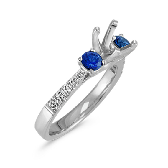Round Sapphire and Diamond Three-Stone Engagement Ring in 14k White Gold