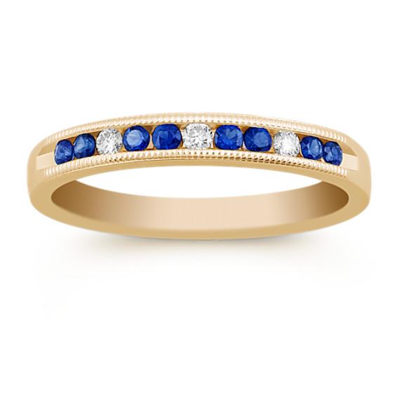 Round Sapphire and Diamond Vintage Channel-Set Wedding Band