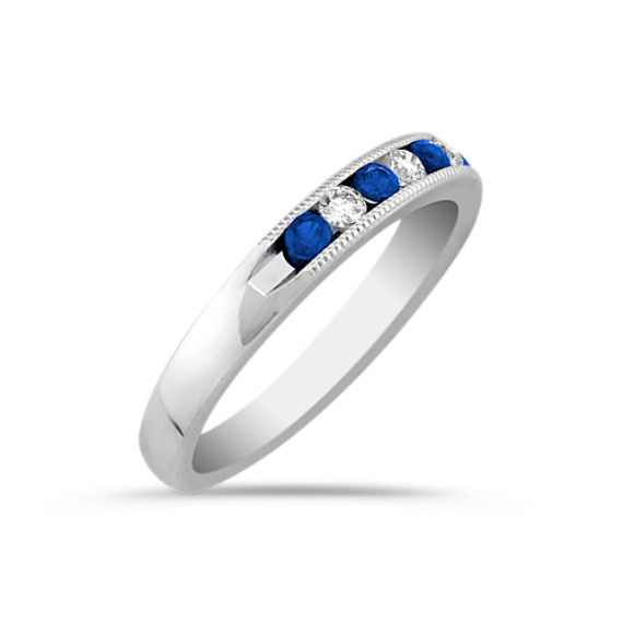 Round Sapphire and Diamond Wedding Band with Channel-Setting