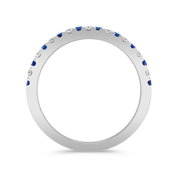 Round Sapphire and Diamond Wedding Band