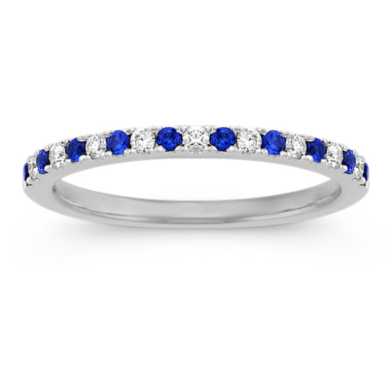 Round Sapphire and Diamond Wedding Band at Shane Co