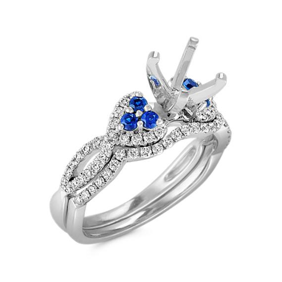 Round Sapphire and Diamond Wedding Set with Pavé Setting