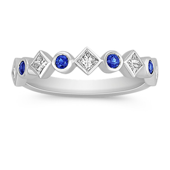 Round Sapphire and Princess Cut Diamond Anniversary Band