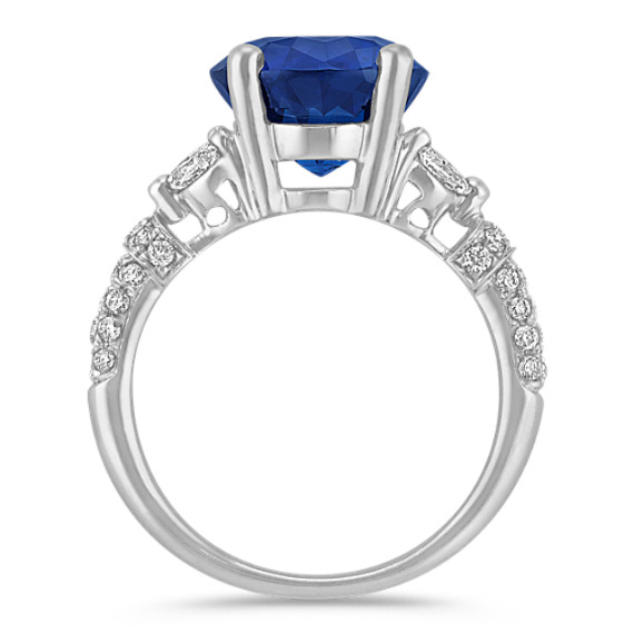 Round Sapphire, Marquise and Round Diamond Ring
