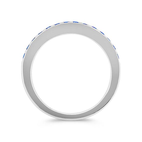 Round Sapphire Pavé-Set Wedding Band