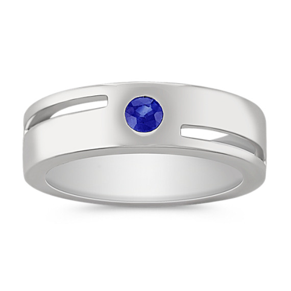 Round Sapphire Ring with Bezel Setting