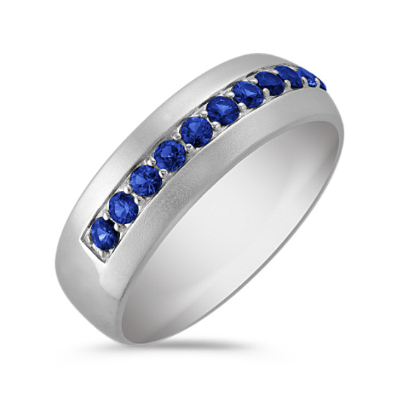 Round Sapphire Ring with Sandblasted Finish