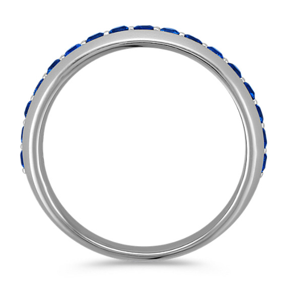 Round Sapphire Ring with Sandblasted Finish