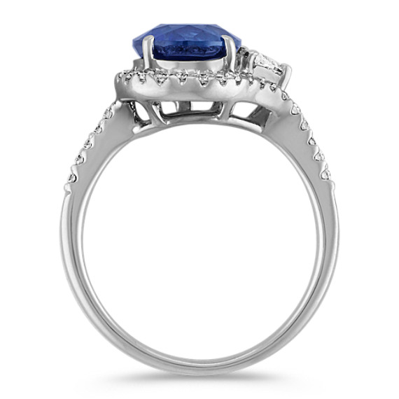 Round Sapphire, Trillion and Round Diamond Ring