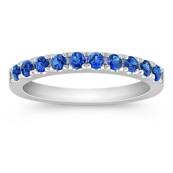 Round Sapphire Wedding Band
