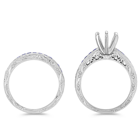 Round Sapphire Wedding Set with Channel-Setting