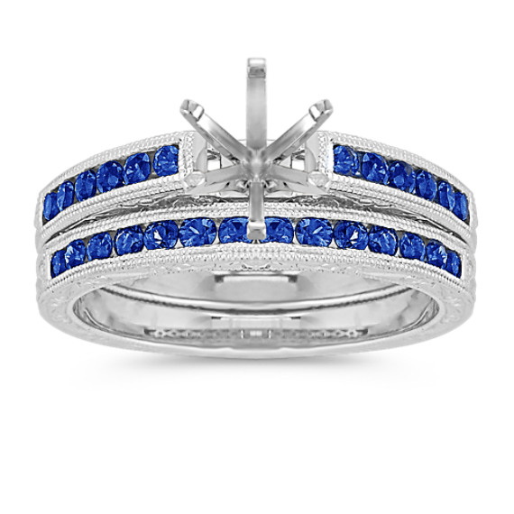 Round Sapphire Wedding Set with Channel Setting