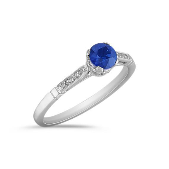 Round Sappire and Diamond Ring